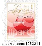 Royalty Free 3d Vector Clip Art Illustration Of 3d Red Hearts Postal Stamp
