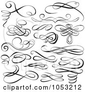 Royalty Free Vector Clip Art Illustration Of A Digital Collage Of Black And White Ornate Calligraphic Design Elements 1