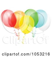 Royalty Free Vector Clip Art Illustration Of A Bundle Of Transparent Colorful Party Balloons by dero