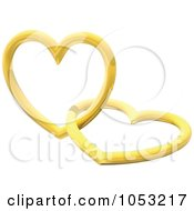 Royalty Free 3d Vector Clip Art Illustration Of 3d Golden Hearts