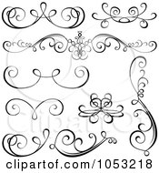 Royalty Free Vector Clip Art Illustration Of A Digital Collage Of Black And White Ornate Calligraphic Design Elements 2
