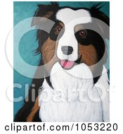 Royalty Free Clip Art Illustration Of A Painted Australian Shepherd Or Sheepdog Portrait by Maria Bell