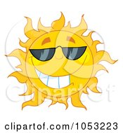 Cool Sun Wearing Shades by Hit Toon