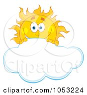 Happy Sun Looking Over A Cloud by Hit Toon