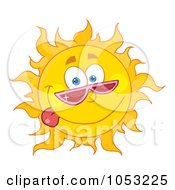 Goofy Sun Wearing Shades And Sticking His Tongue Out by Hit Toon