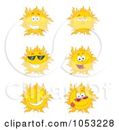 Royalty-Free Vector Clip Art Illustration of a Digital Collage Of Happy Sun Faces by Hit Toon #COLLC1053228-0037