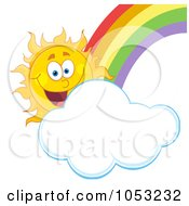 Royalty Free Vector Clip Art Illustration Of A Happy Sun With A Cloud And Rainbow