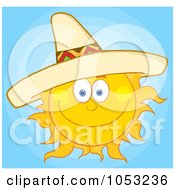 Royalty Free Vector Clip Art Illustration Of A Happy Sun Wearing A Sombrero In A Blue Sky