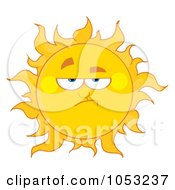 Royalty Free Vector Clip Art Illustration Of A Grumpy Sun