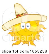 Royalty Free Vector Clip Art Illustration Of A Happy Sun Wearing A Sombrero