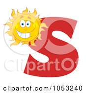 Royalty Free Vector Clip Art Illustration Of A Grinning Sun With The Letter S