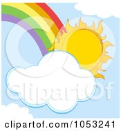 Sun With A Cloud And Rainbow In A Blue Sky