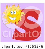 Royalty Free Vector Clip Art Illustration Of A Grinning Sun With The Letter S Over Purple