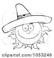 Royalty Free Vector Clip Art Illustration Of An Outline Of A Happy Sun Wearing A Sombrero