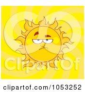 Royalty Free Vector Clip Art Illustration Of A Grumpy Sun In A Yellow Swirl Sky