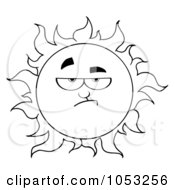 Royalty Free Vector Clip Art Illustration Of An Outline Of A Grumpy Sun