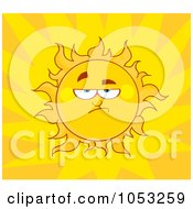 Royalty Free Vector Clip Art Illustration Of A Grumpy Sun In A Yellow Burst Sky