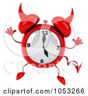 Royalty Free 3d Clip Art Illustration Of A 3d Devil Alarm Clock Jumping by Julos