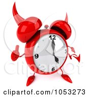 Royalty Free 3d Clip Art Illustration Of A 3d Devil Alarm Clock Holding A Thumb Up by Julos