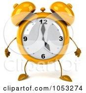 3d Yellow Alarm Clock Character