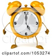Royalty Free 3d Clip Art Illustration Of A 3d Yellow Alarm Clock Character by Julos
