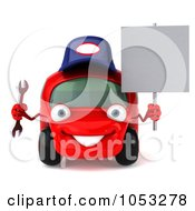 Royalty Free 3d Clip Art Illustration Of A 3d Red Automobile Mechanic Holding A Wrench And A Sign