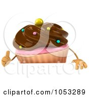 Royalty Free 3d Clip Art Illustration Of A 3d Chocolate Frosted Cupcake Holding A Blank Sign Board 1