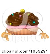 Royalty Free 3d Clip Art Illustration Of A 3d Chocolate Frosted Cupcake Holding A Blank Sign Board 3