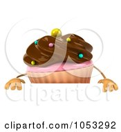 Royalty Free 3d Clip Art Illustration Of A 3d Chocolate Frosted Cupcake Holding A Blank Sign Board 2