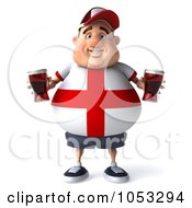 Royalty Free 3d Clip Art Illustration Of A 3d Fat English Man Facing Front And Holding Beer
