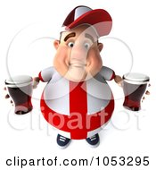 Royalty Free 3d Clip Art Illustration Of A 3d Fat English Man Holding Two Pints Of Beer 1 by Julos