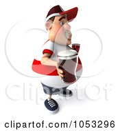 Royalty Free 3d Clip Art Illustration Of A 3d Fat English Man Holding Two Pints Of Beer 2