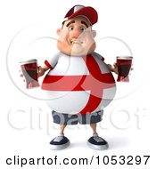 Royalty Free 3d Clip Art Illustration Of A 3d Fat English Man Holding Two Pints Of Beer 3