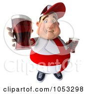 Royalty Free 3d Clip Art Illustration Of A 3d Fat English Man Holding Out Beer by Julos