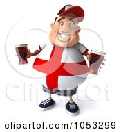 Royalty Free 3d Clip Art Illustration Of A 3d Fat English Man Holding Two Pints Of Beer 4 by Julos