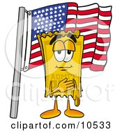 Clipart Picture Of A Yellow Admission Ticket Mascot Cartoon Character Pledging Allegiance To An American Flag