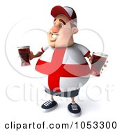 Royalty Free 3d Clip Art Illustration Of A 3d Fat English Man Holding Two Pints Of Beer 5 by Julos