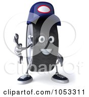 Royalty Free 3d Clip Art Illustration Of A 3d Tire Mechanic Character Holding A Wrench 3