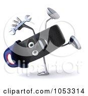 Royalty Free 3d Clip Art Illustration Of A 3d Tire Mechanic Character Doing A Cartwheel