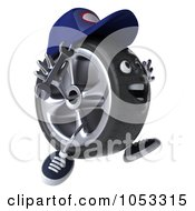 Royalty Free 3d Clip Art Illustration Of A 3d Tire Mechanic Character Facing Right And Jumping