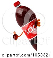 Royalty Free 3d Clip Art Illustration Of A 3d Soda Bottle Looking Around A Blank Sign With A Thumb Up