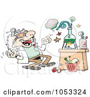 Royalty Free Vector Clip Art Illustration Of A Crazy Scientist Conducting An Experiment