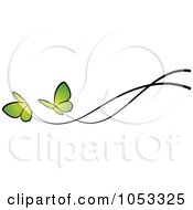 Royalty Free Vector Clip Art Illustration Of A Border Of Two Green Butterflies And Black Lines by elena