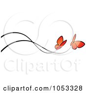 Royalty Free Vector Clip Art Illustration Of A Border Of Two Orange Butterflies And Black Lines by elena