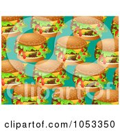 Royalty Free Clip Art Illustration Of A Background Pattern Of Cheeseburgers by Prawny