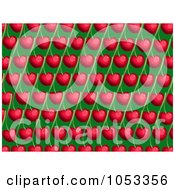Royalty Free Clip Art Illustration Of A Background Pattern Of Cherries On Green