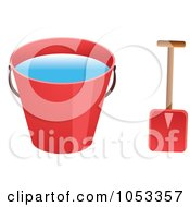 Royalty Free Vector Clip Art Illustration Of A Shovel And Red Beach Bucket With Water