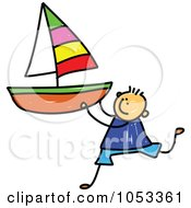 Royalty Free Vector Clip Art Illustration Of A Doodle Boy Holding A Sailboat by Prawny
