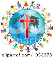 Royalty Free Clip Art Illustration Of A Christian Kids Holding Hands Around A Globe With A Cross