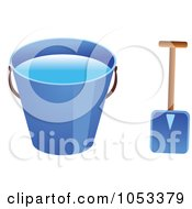 Royalty Free Vector Clip Art Illustration Of A Shovel And Blue Beach Bucket With Water by Prawny